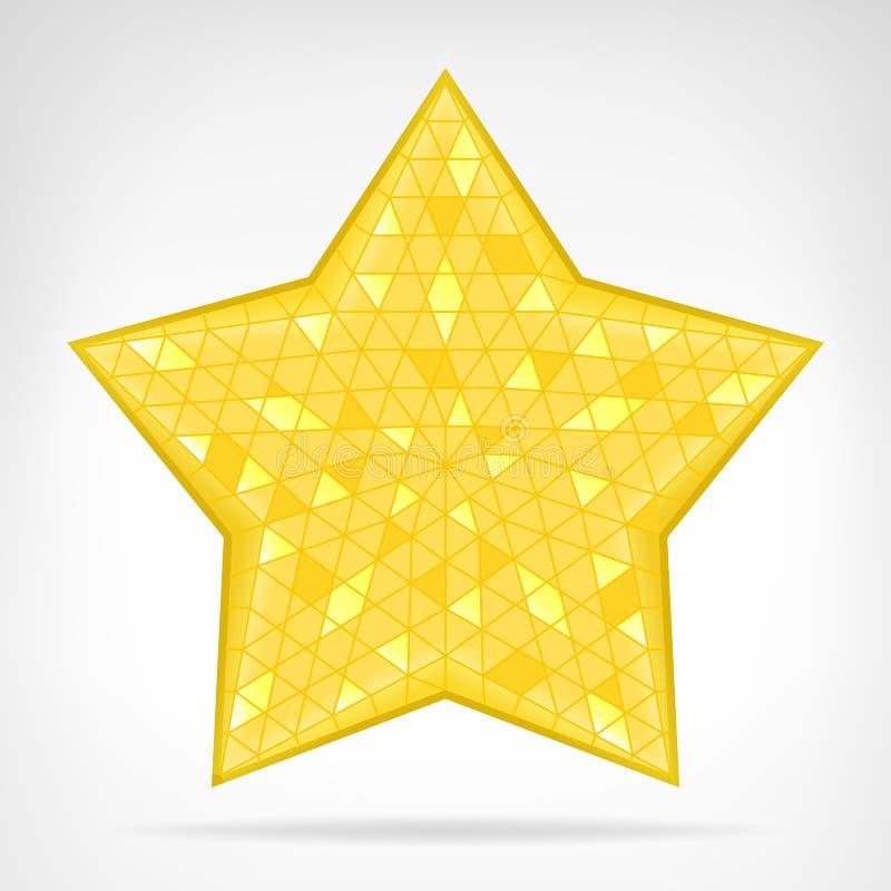被隔绝的金黄三角星网元素 库存例证
