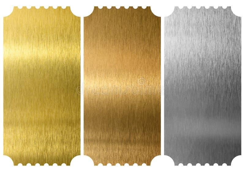 被隔绝的铝、古铜和黄铜票 免版税库存图片