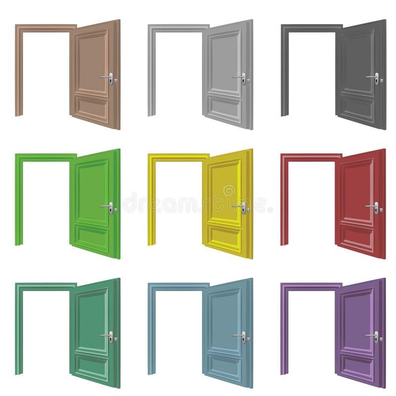 被隔绝的门开放绘画颜色集合 向量例证