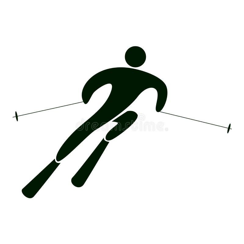 被隔绝的障碍滑雪象 库存例证