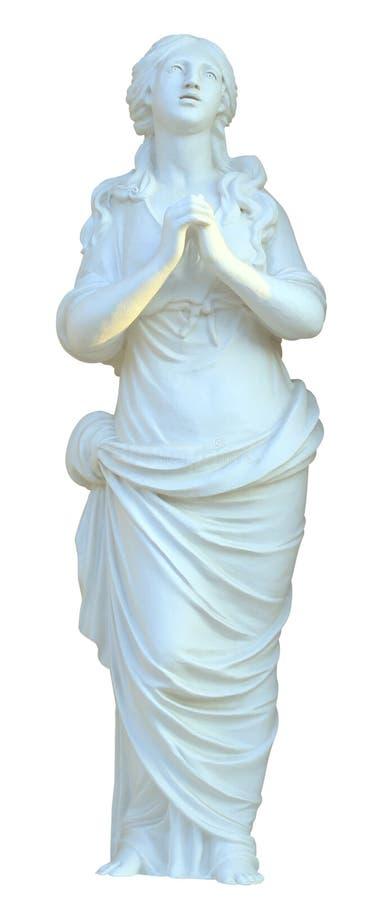 被隔绝的雕塑少女祈祷 免版税库存照片