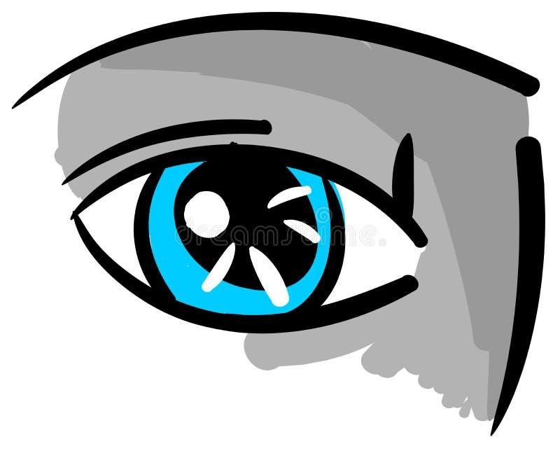 被隔绝的风格化蓝眼睛 向量例证