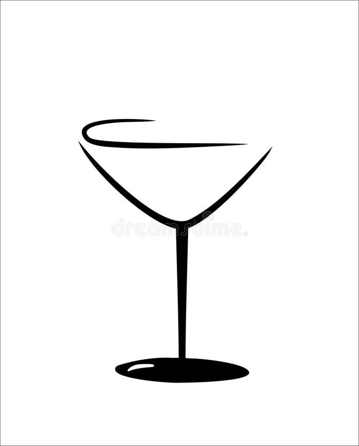 被隔绝的马蒂尼鸡尾酒玻璃 向量例证
