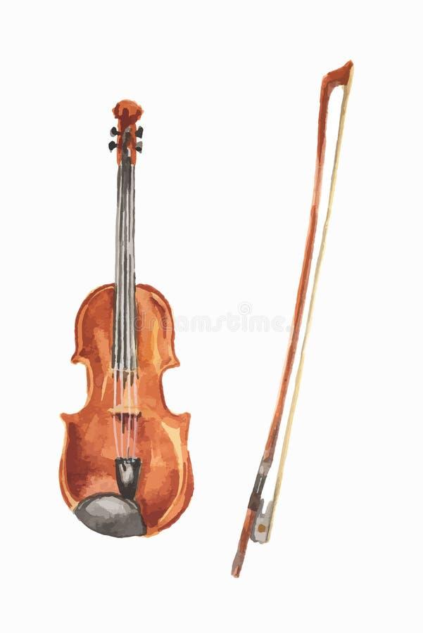 被隔绝的水彩小提琴 皇族释放例证