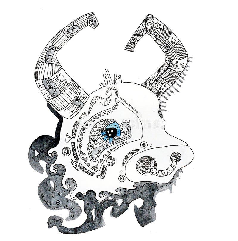 被隔绝的年手图画概述种族样式的瓷占星的标志 库存例证