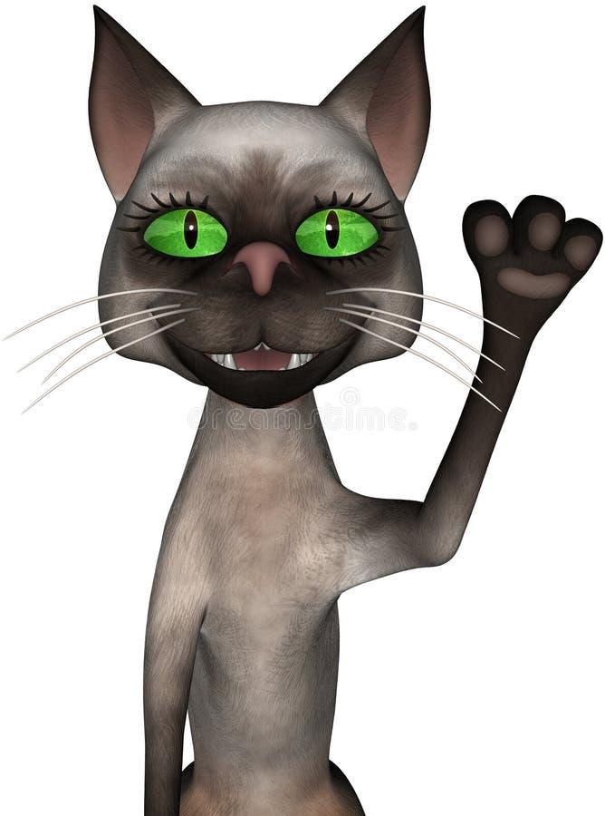 被隔绝的滑稽动画片猫挥动 皇族释放例证