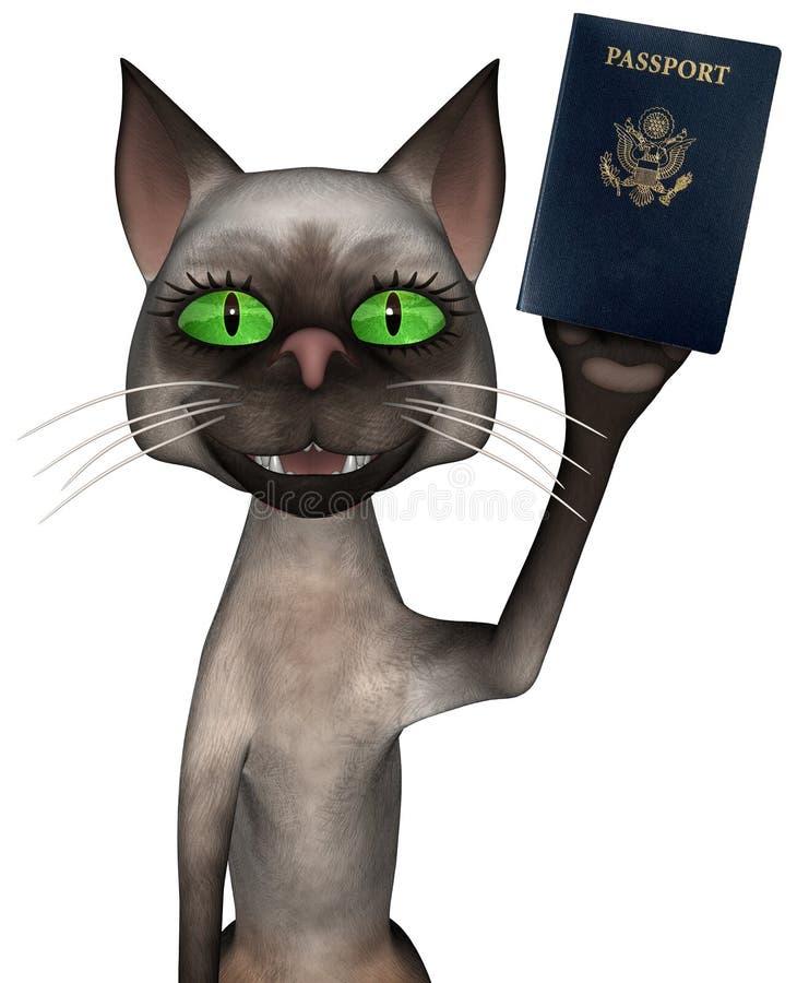 被隔绝的滑稽的旅行护照猫 皇族释放例证