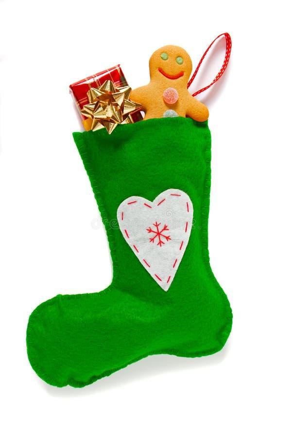 被隔绝的绿色圣诞节长袜 免版税图库摄影