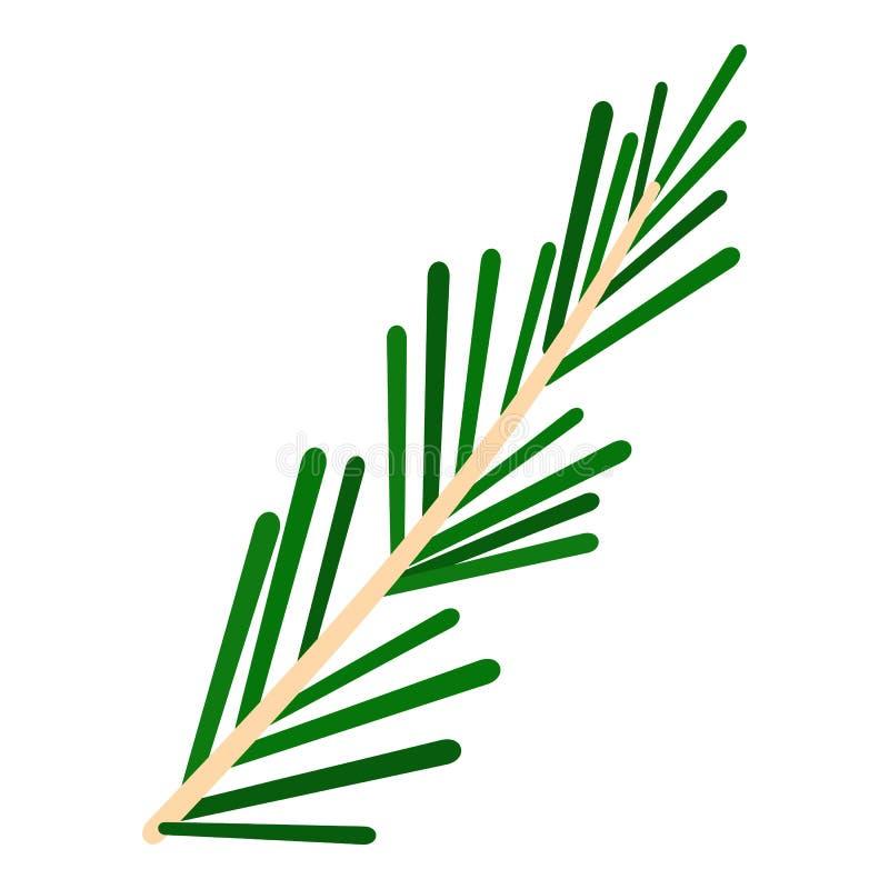 被隔绝的绿色迷迭香枝杈象 向量例证