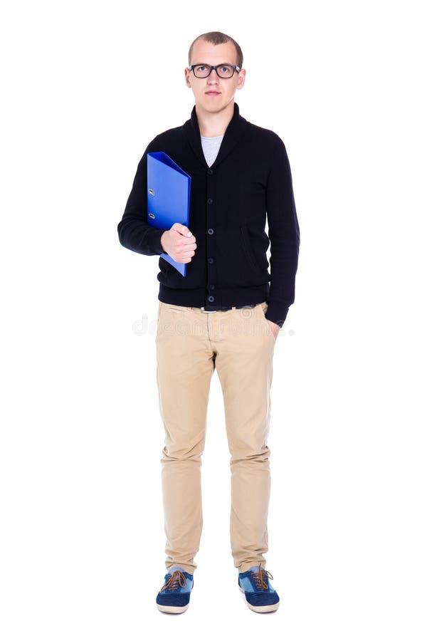 被隔绝的年轻英俊的人学生或办公室工作者身分  库存照片