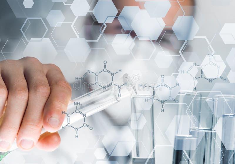 被集中的男性科学家画象与试剂一起使用在实验室 免版税库存图片