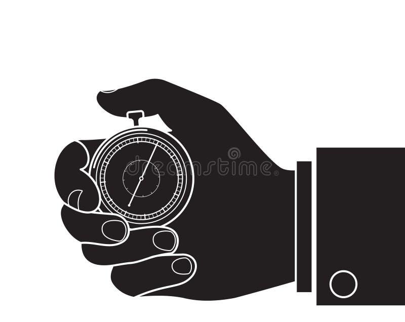 被雕刻的剪影平的象,简单的传染媒介设计 有秒表的商人手 皇族释放例证