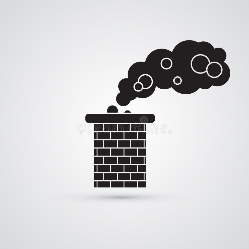 被雕刻的剪影平的象,简单的传染媒介设计 砖烟囱 库存例证