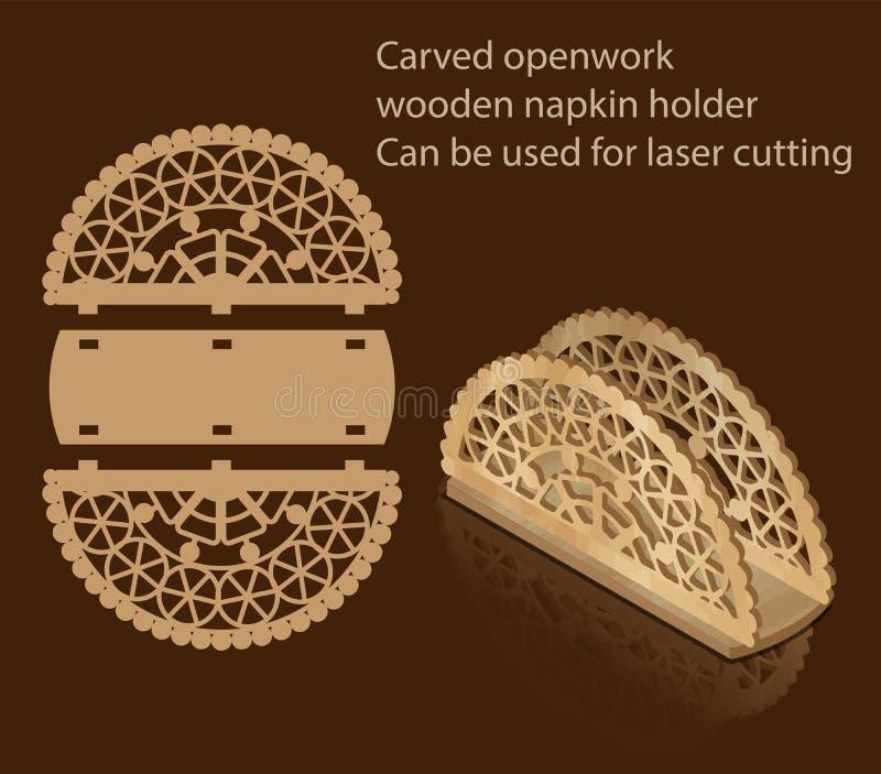 被雕刻的透雕细工木餐巾持有人,可以为激光切口使用 皇族释放例证