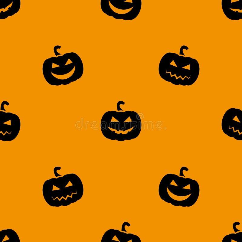 被雕刻的万圣节南瓜 无缝的模式 橙色背景 也corel凹道例证向量 免版税图库摄影
