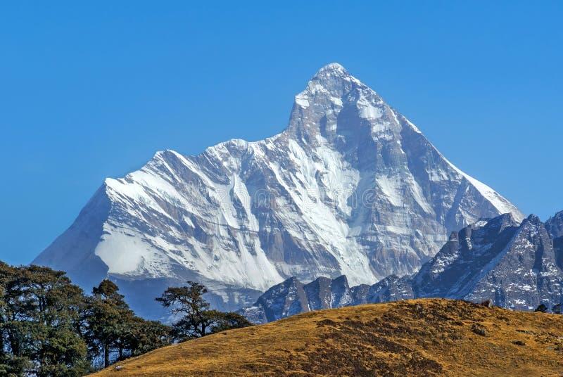 被雪复盖的峰顶 免版税库存图片