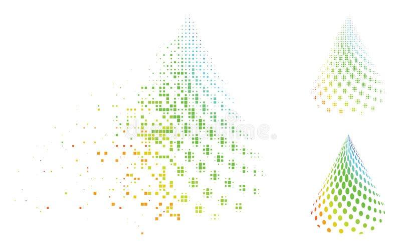 被驱散的映象点中间影调被加点的抽象锥体象 向量例证