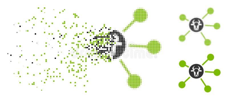 被驱散的Pixelated半音母牛连接象 向量例证
