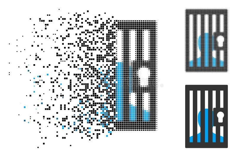 被驱散的Pixelated半音监狱锁着的门象 向量例证