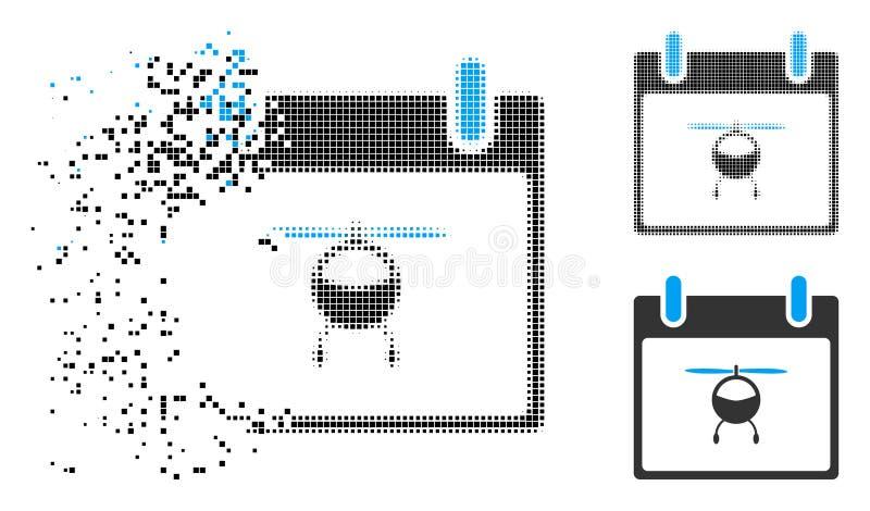 被驱散的Pixelated半音直升机日历象 向量例证