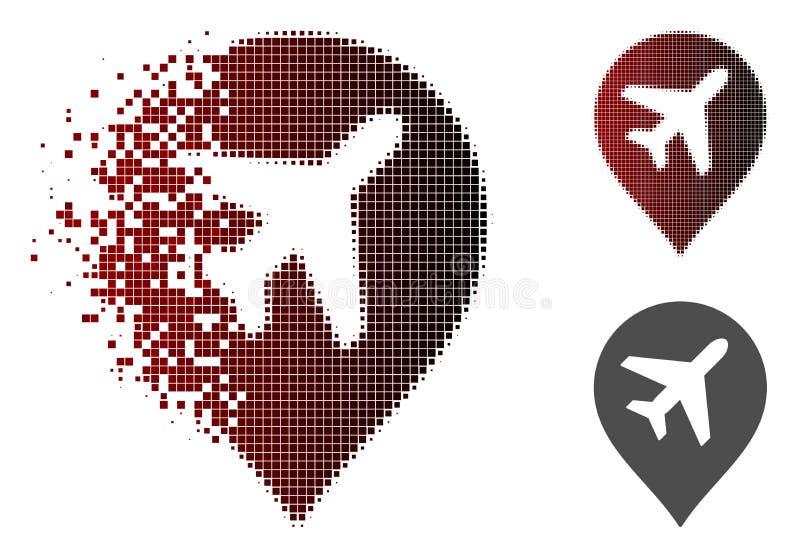 被驱散的Pixelated半音飞机标志象 向量例证