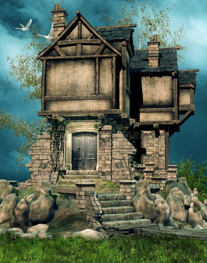 被破坏的房子老 向量例证