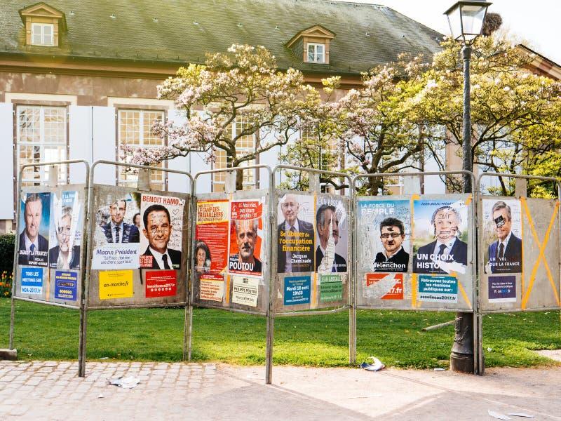 被破坏的法国总统选举竞选海报 免版税库存照片