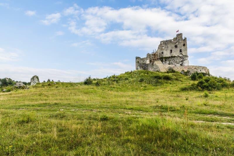 被破坏的米罗城堡在波兰 免版税库存图片