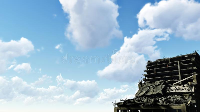 被破坏的高层建筑物和蓝色多云天空 免版税库存图片