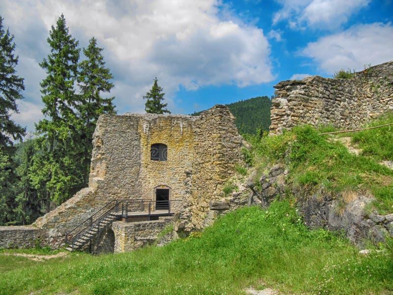 被破坏的Likava城堡 免版税图库摄影