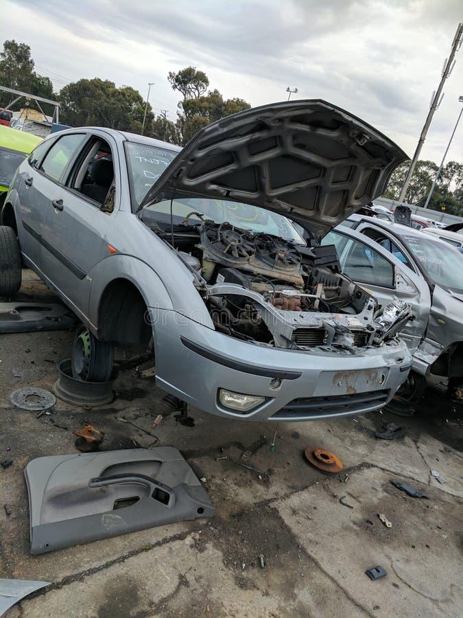 被击毁的汽车 图库摄影