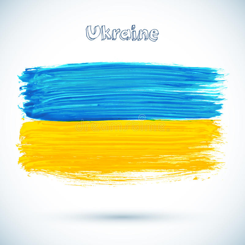 被绘的乌克兰旗子,传染媒介例证 向量例证