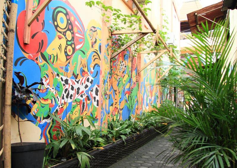 被绘的墙壁在日惹 免版税库存图片