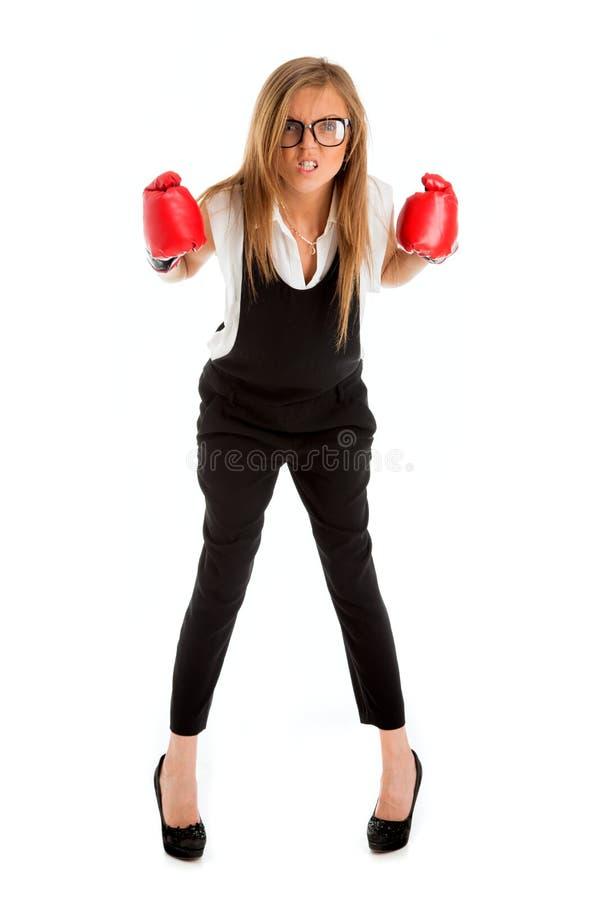被击败的失败者妇女-与女实业家weari的企业概念 免版税库存照片