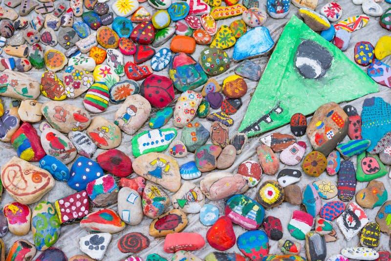 被绘的小卵石 免版税库存照片
