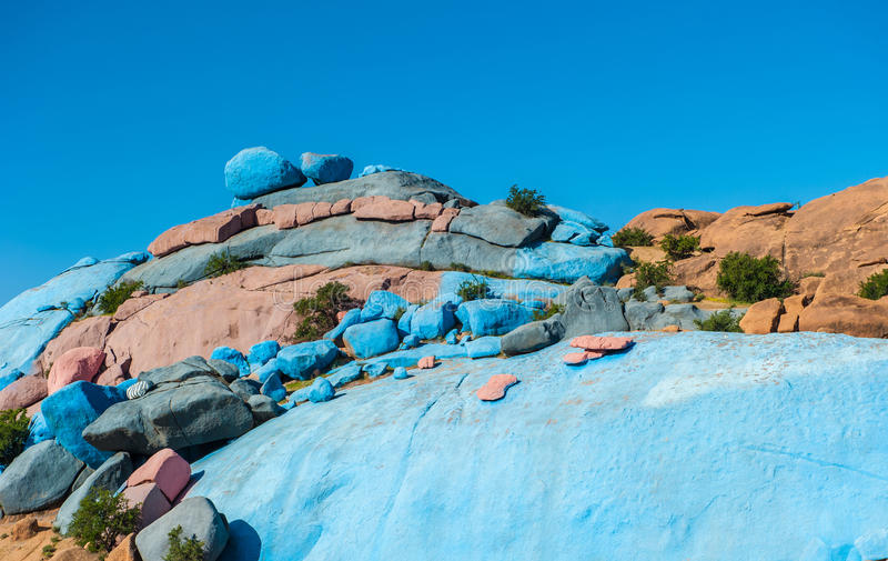 被绘的岩石, Tafraoute,摩洛哥 免版税图库摄影