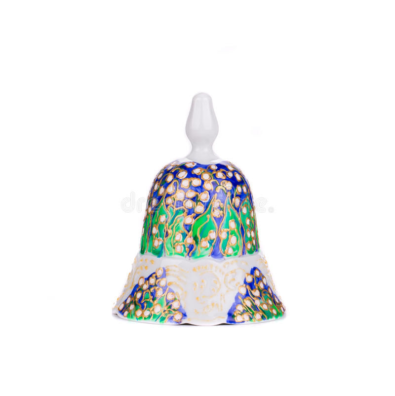 被绘的手工制造陶瓷响铃 免版税库存图片