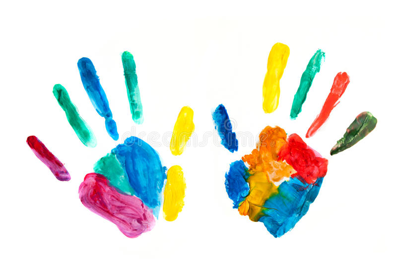 被绘的手,盖印在纸,五颜六色的乐趣 皇族释放例证
