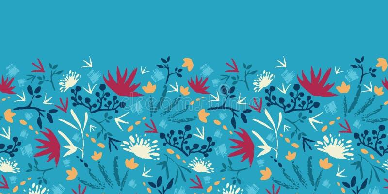 被绘的抽象水平花和的植物 库存例证