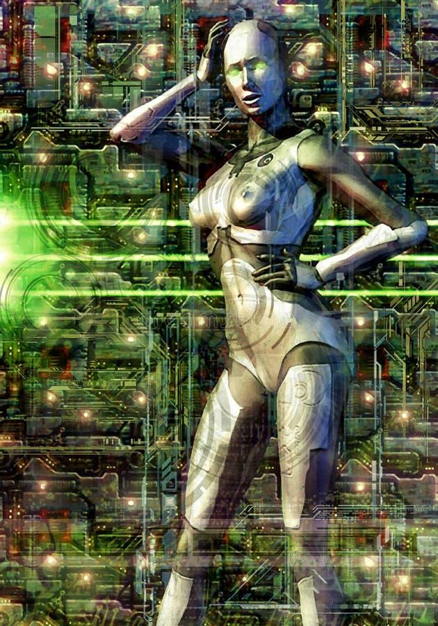 被绘的机器人女性难看的东西 向量例证