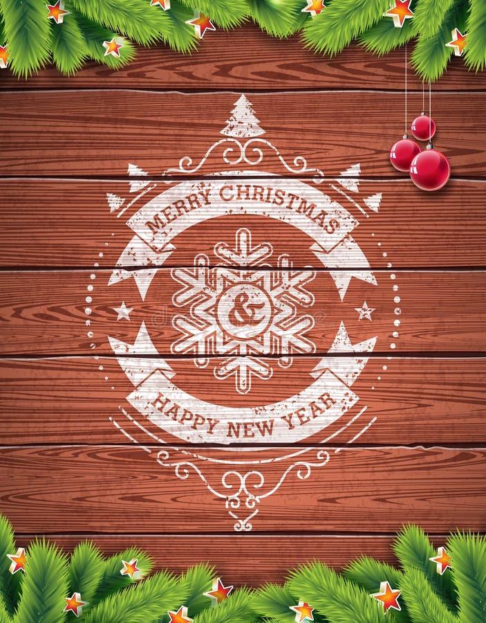 被绘的葡萄酒圣诞快乐和与redglass球的新年快乐印刷设计在木纹理背景 皇族释放例证