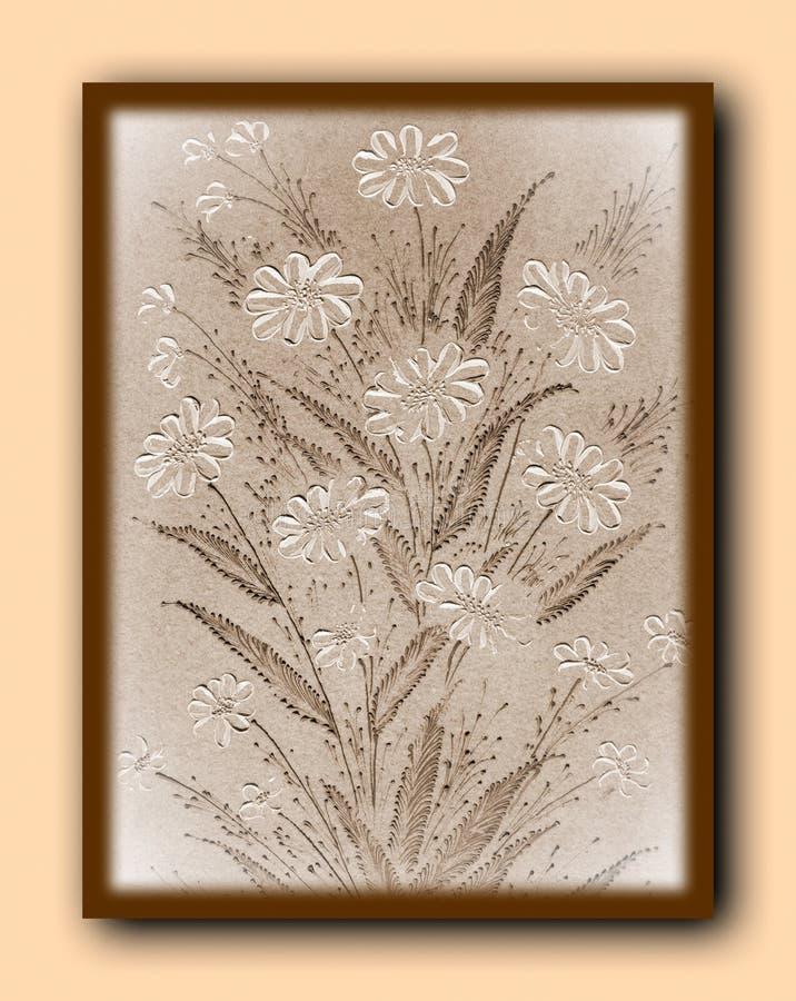 被绘的延命菊花 免版税库存照片