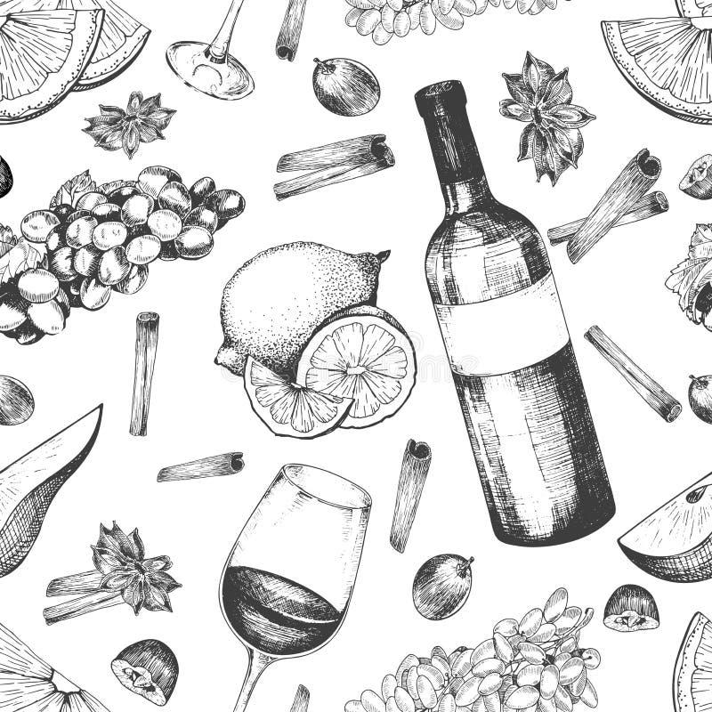 被仔细考虑的酒成份的传染媒介无缝的样式 温暖的酒精饮料 库存例证