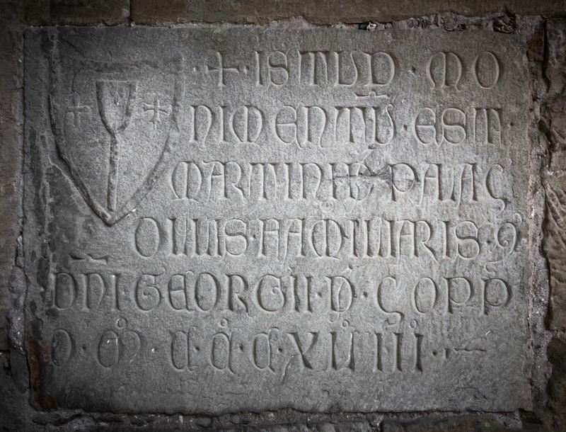被刻记的石与拉丁字母 免版税库存照片