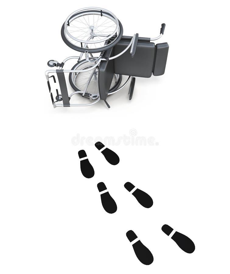 被翻转的轮椅和脚印在白色背景 库存例证