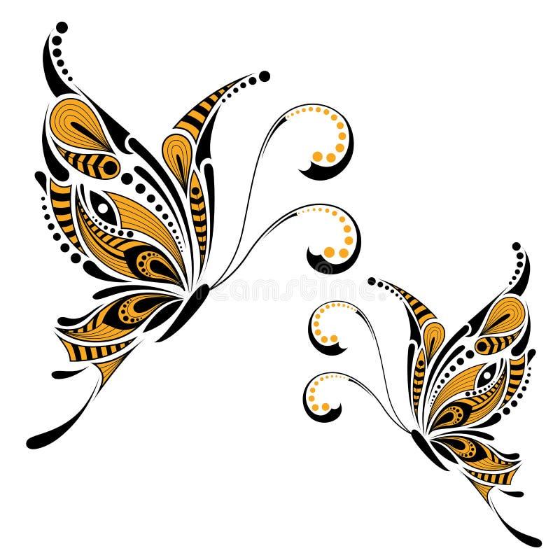 被仿造的色的蝴蝶 非洲/印地安人/图腾/纹身花刺设计 库存例证