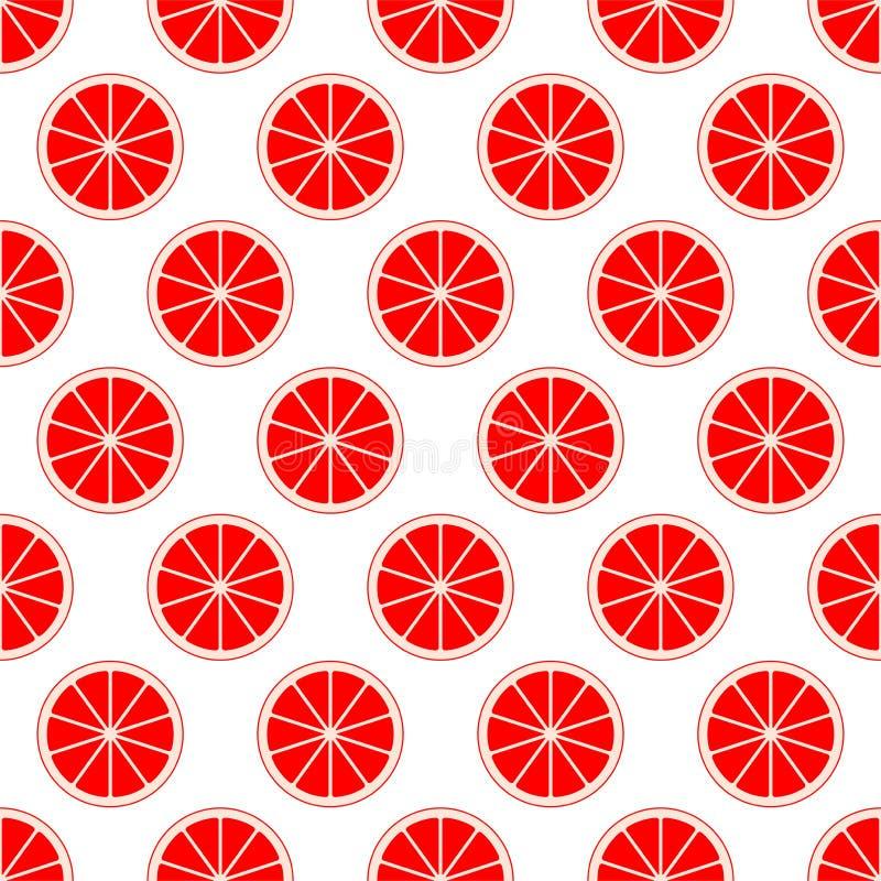 裁减新鲜的水多的葡萄柚红色柑橘背景在行紧挨着和轮流地下面敲响 概念的健康 向量例证