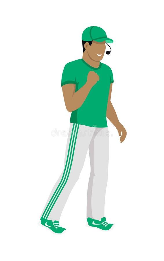 裁判员动画片象绿色和白色制服的 向量例证
