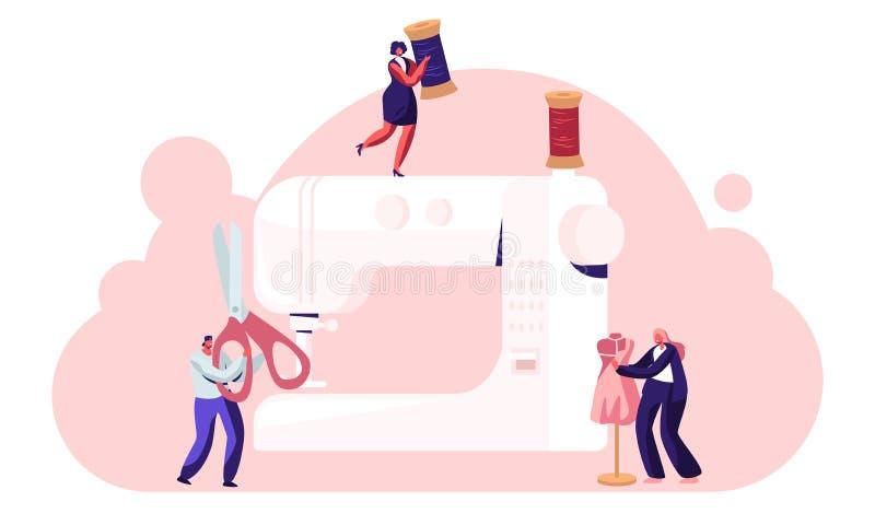裁缝创造成套装备和服装在缝纫机,时尚设计观念,辅助工作与时装模特创造性的工作室 皇族释放例证