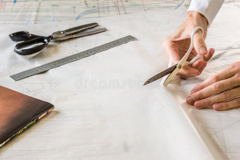 裁缝削减衣服材料的. 行业, 工厂.